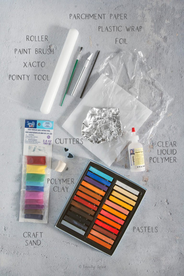 Supplies needed and labeled to make miniature dollhouse cookies