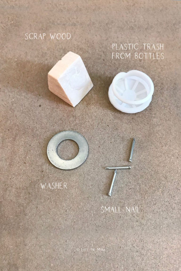 Bits and pieces needed to make a dollhouse kitchen scale