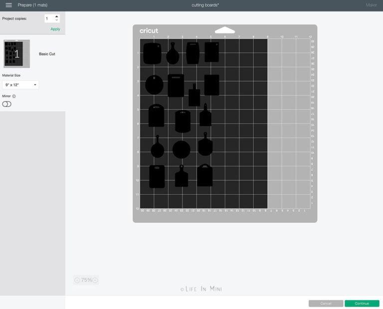 Ready to cut cutting board SVG using a cricut maker