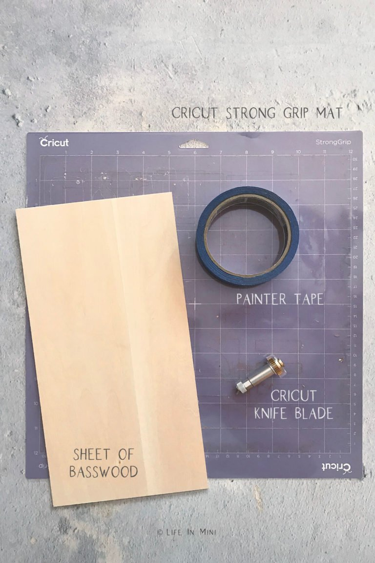 Items labeled and needed to make miniature cutting boards