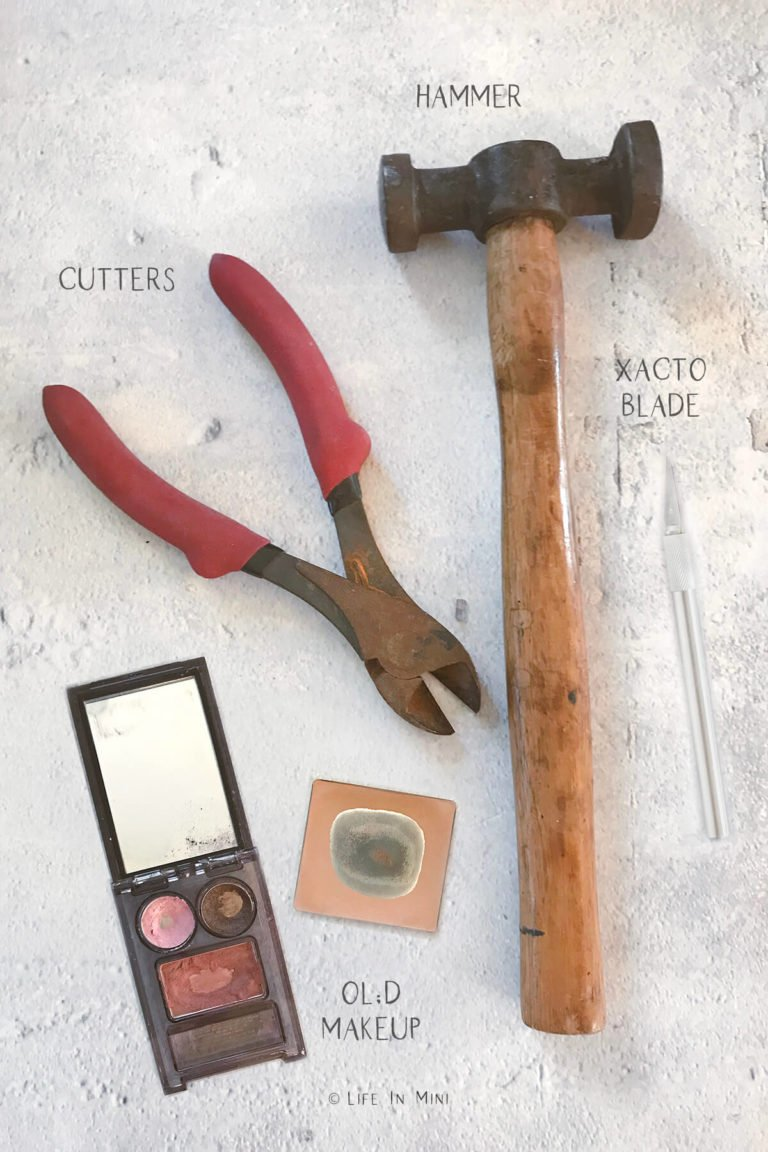 Tools and items needed to make miniature baking sheets for a dollhouse kitchen