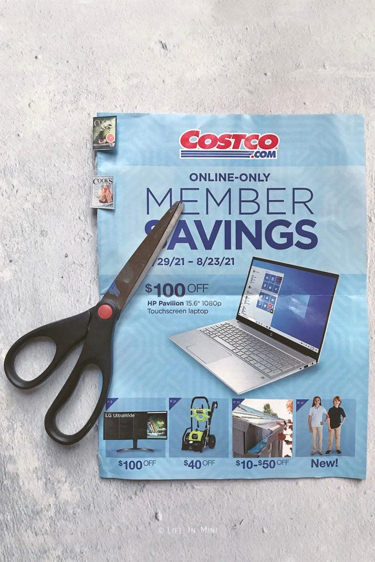 Scissors, magazine circular and mini magazines printed out