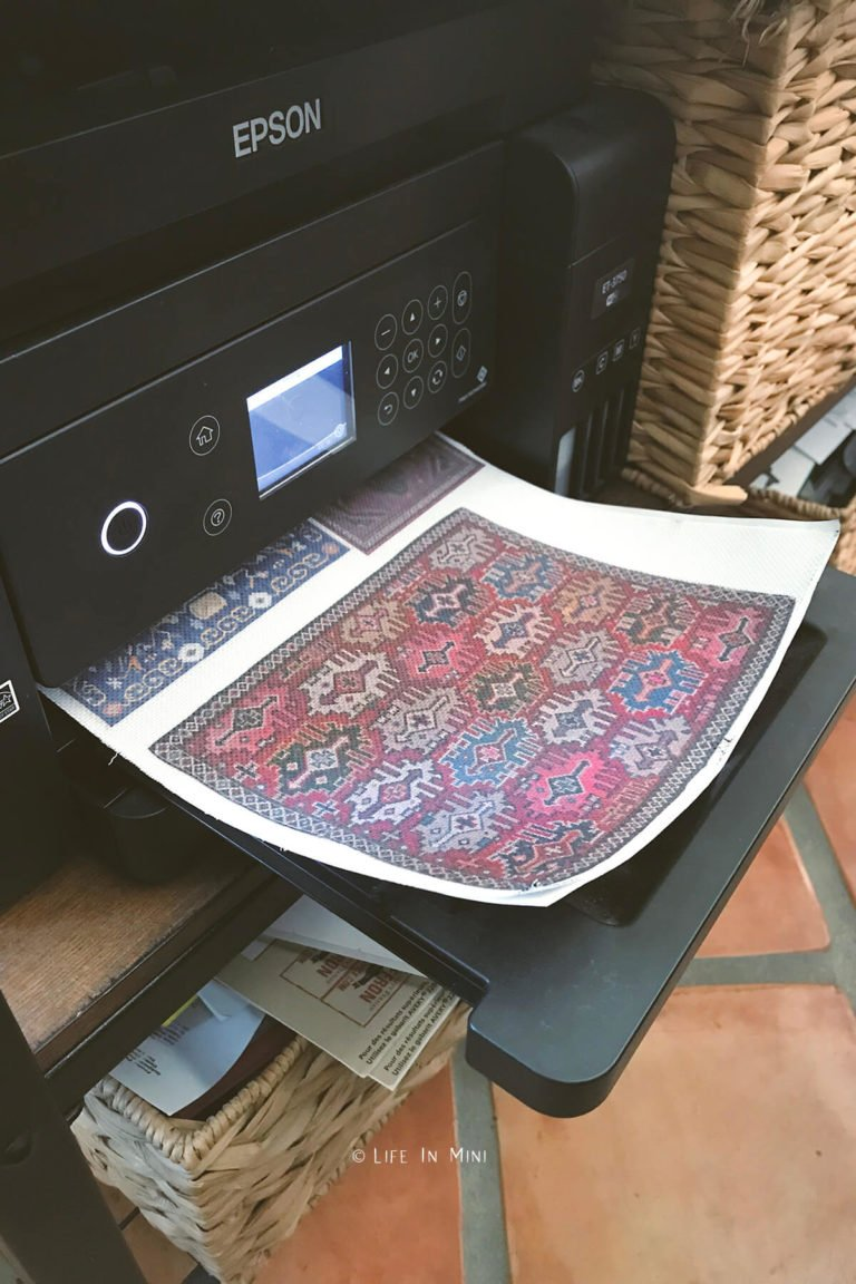 Dollhouse rugs getting printed out onto embroidery fabric