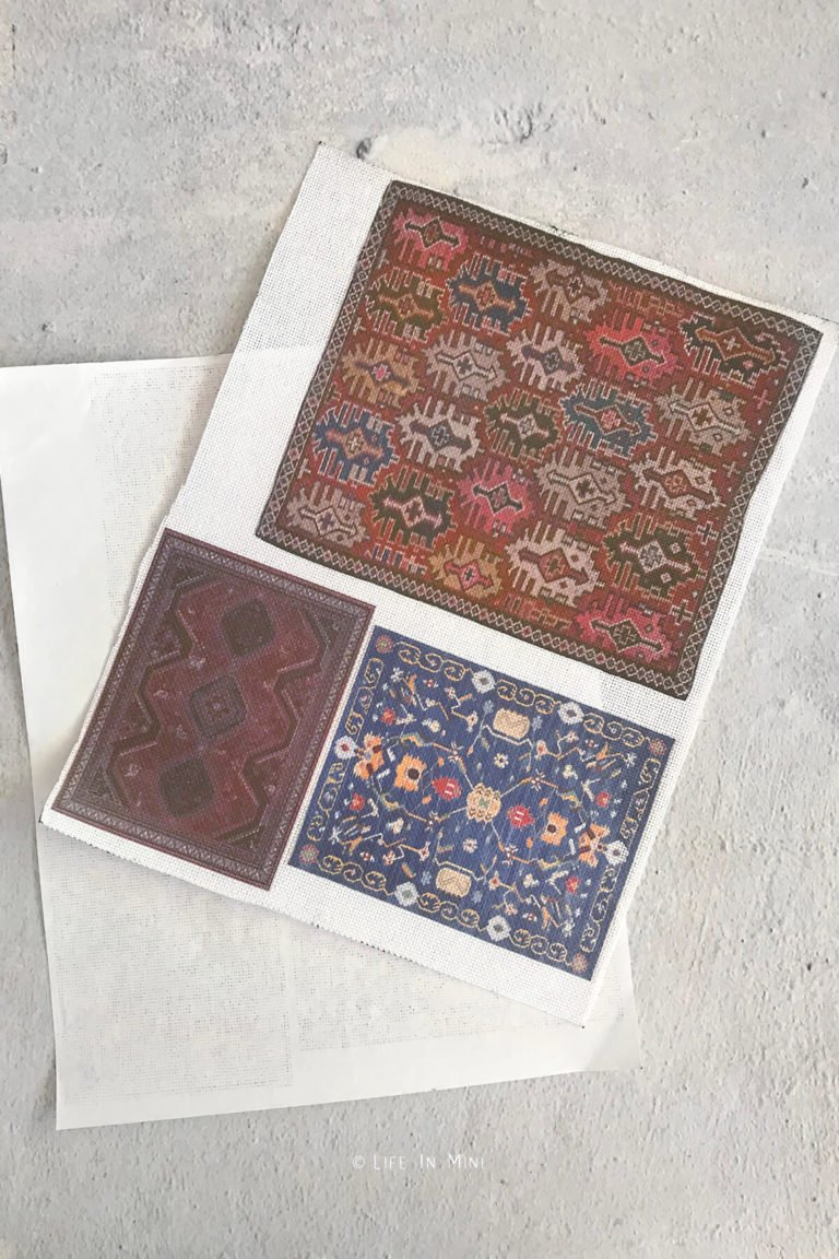 Dollhouse rugs printed onto embroidery fabric removed from freezer paper