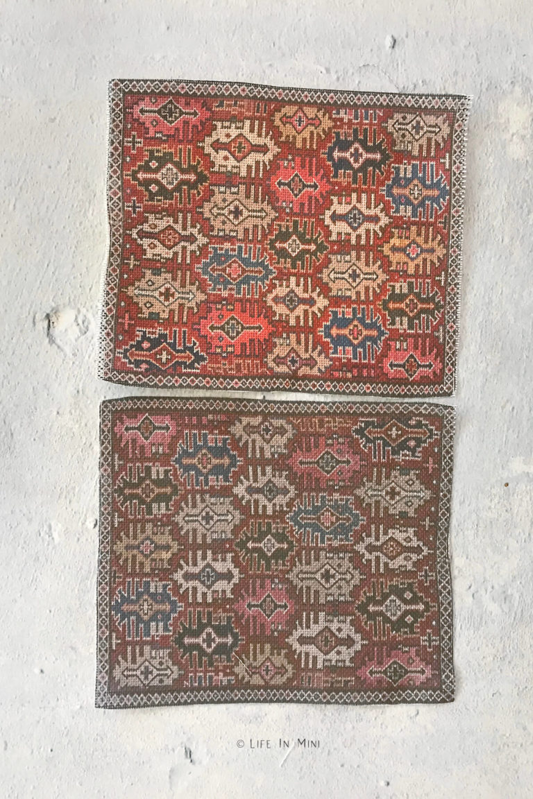 Color differences between two homemade miniature rugs