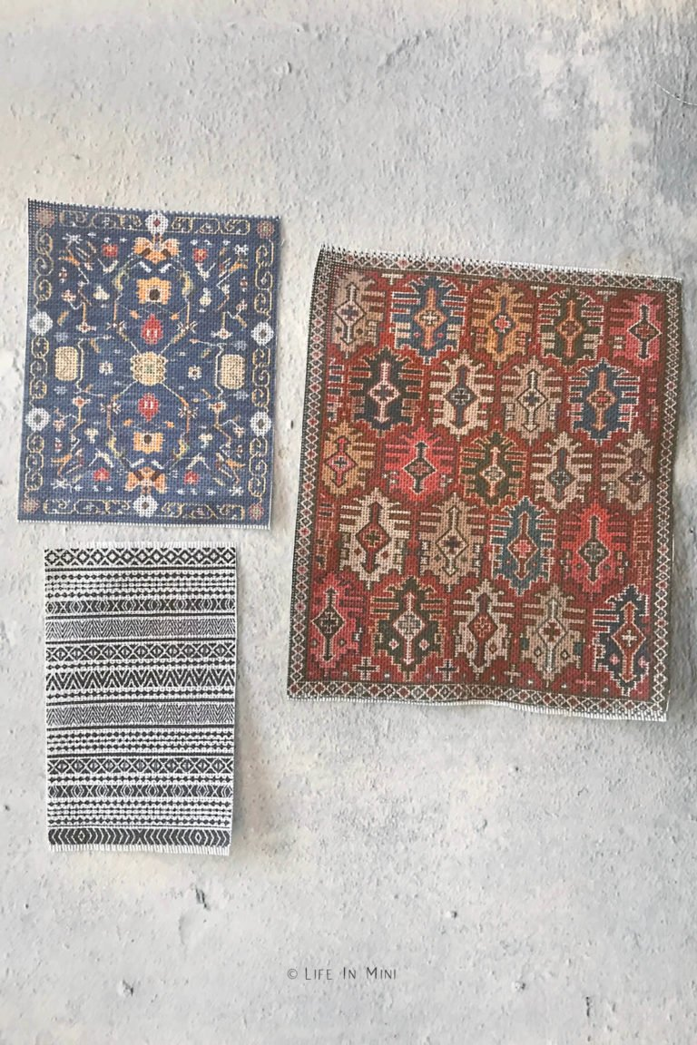 Homemade dollhouse rugs printed onto embroidery fabric