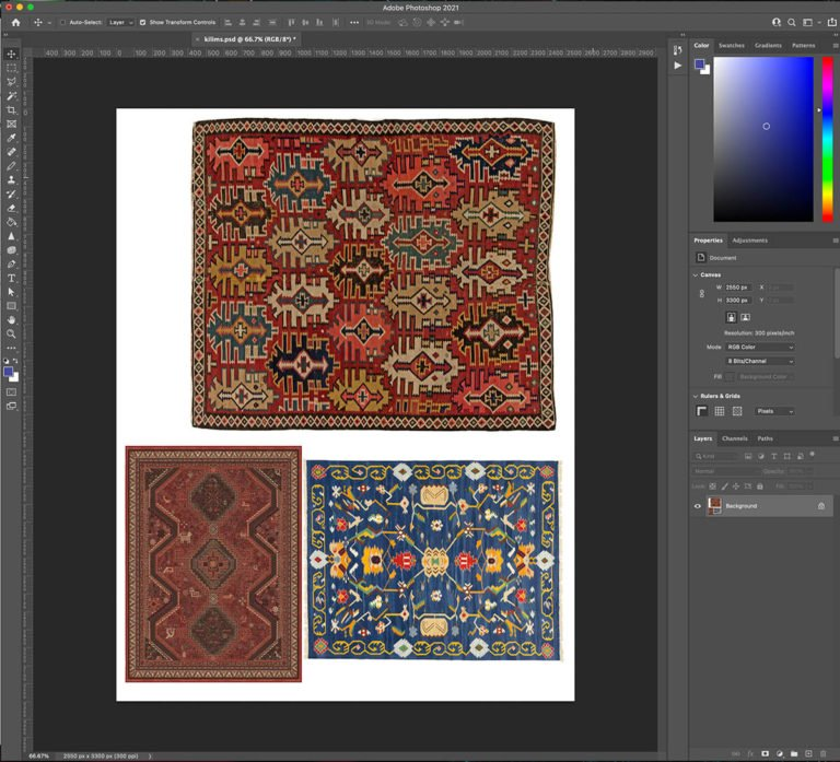 Screenshot of rug images pulled into a file using Adobe Photoshop