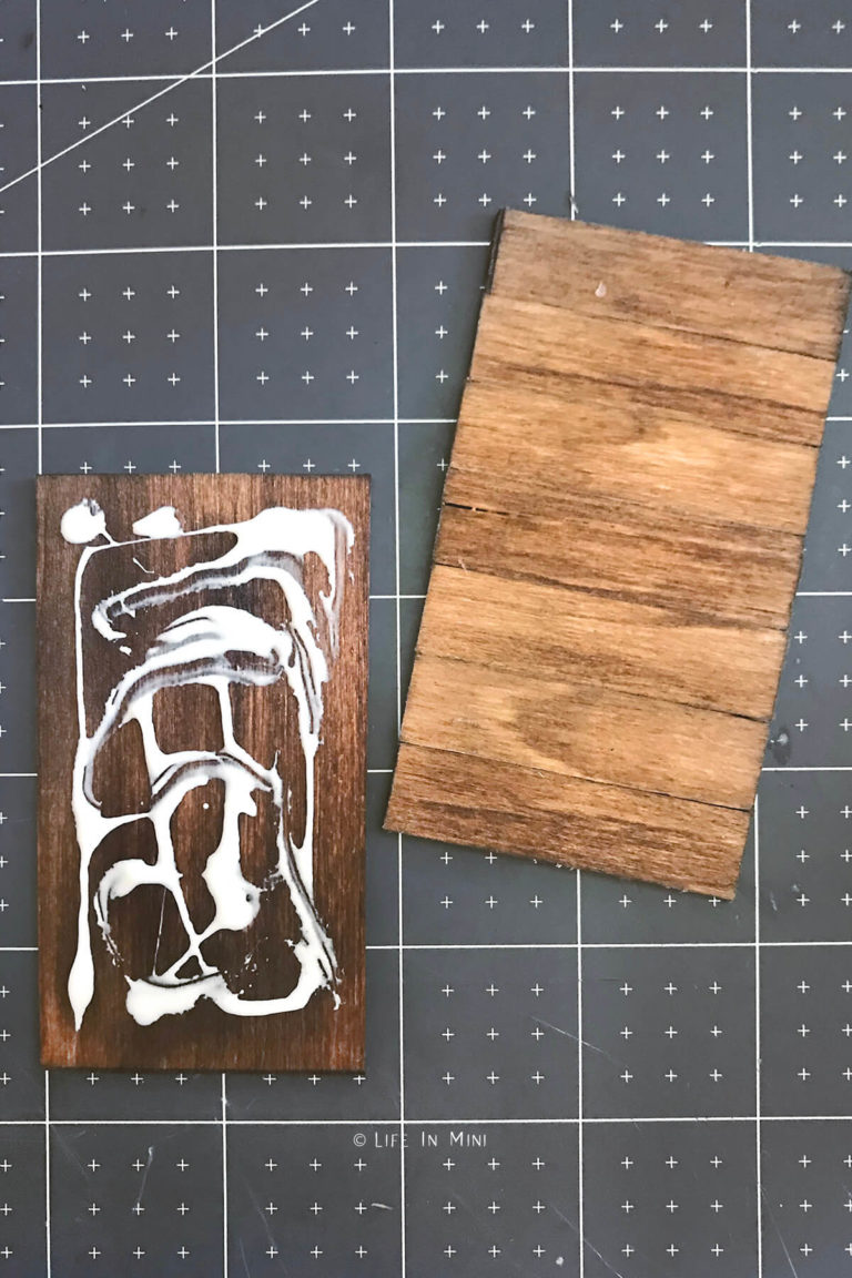 Gluing the miniature farmhouse table top together