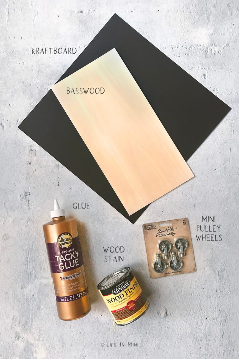 Some of the supplies needed to make a dollhouse coffee table