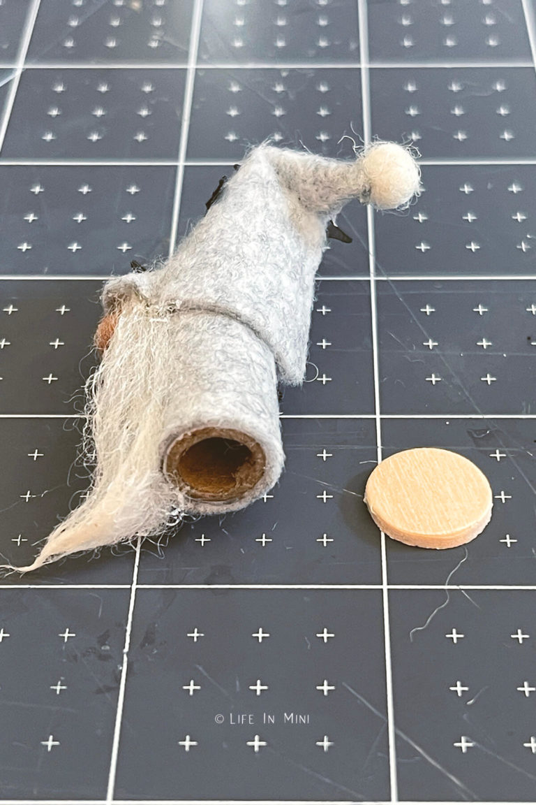 Adding a wood base to a mini halloween gnome