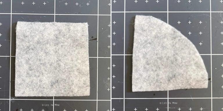 Cut pieces of grey felt for a hat