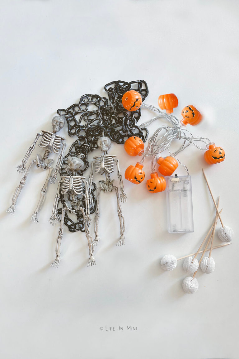 Mini skeletons, chains, pumpkin lights and pom pom toothpicks