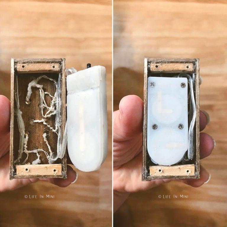 Inside wiring of diy dollhouse chandelier