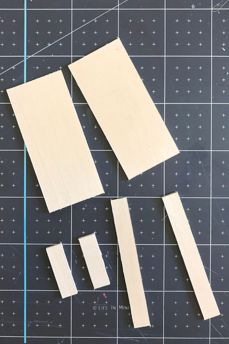 Rectangular pieces of basswood cut and sanded