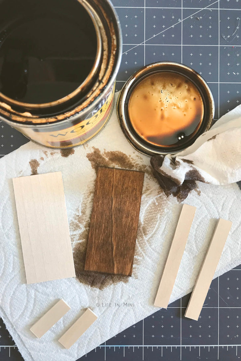 Staining small rectangular pieces of wood